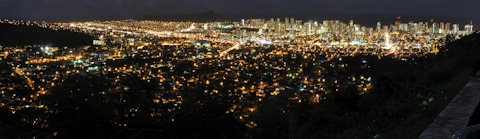 Honolulu panorama at night.  Click to see Zoomified pic